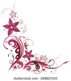Pastel color summer flowers in magenta. Beautiful border.