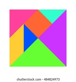 Pastel color tangram puzzle in square shape on white background