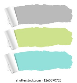 Pastel Color Torn Paper Set With Gradient Mesh, Vector Illustration
