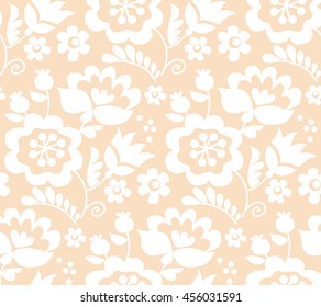 pastel color traditional european Ukrainian ornament. rustic floral composition. rural folk style flower seamless pattern.
