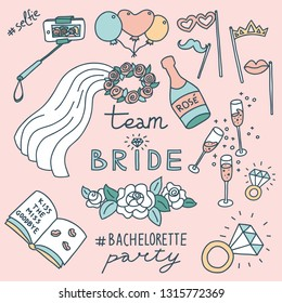 Pastel colored doodle illustration of bachelorette party decorations. Selfie stick,  ballons, props, veil, champagne, diamond rings, roses, signing book. Hashtags and Team Bride lettering.