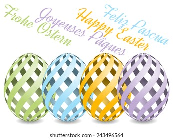 pastel colored Easter eggs with shadow on white background with text Happy Easter from four various languages. Happy Easter, Frohe Ostern, Feliz Pascua, Joyeuses Paques.