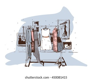 Pastel colored fashion illustration with hand drawn hangers with dresses. Interior with shoes. Vector sketch illustration, isolated on white, with white accent on central dress on blue background