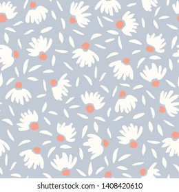 Pastel Colored Loosely Hand Drawn Feminine Elegant White Cone Flowers Vector Seamless Pattern. Subdued Spring-Summer Painterly Floral Print Perfect for Fashion, Beauty Products and Stationery