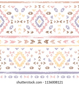 Pastel colored pink geometric aztec aged grunge ethnic seamless pattern, vector