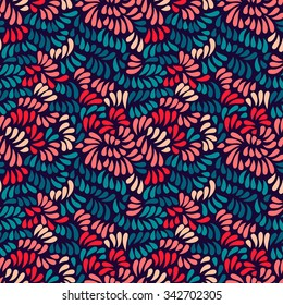 Pastel colored stylized peony flowers and leaves seamless pattern on dark, vector