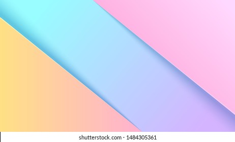 Pastel colorful geometric elements abstract background papercut style