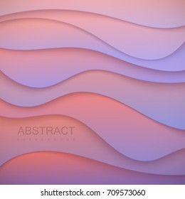 Pastel colorful wavy paper cut background. Abstract 3d papercut decoration textured with curved layers. Carving or origami art. Vector realistic illustration. Cover layout template. Material design.