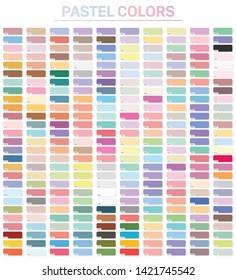 Pastel colors set with hex codes. Trendy color palette vector