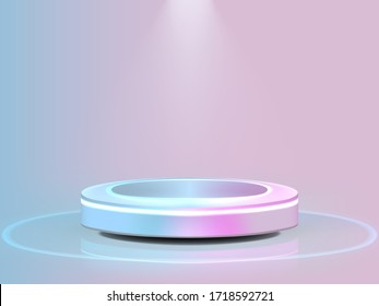 Pastel Colors Stage For Product Presentation And Glossy Podium Or Pedestal. EPS10 Vector
