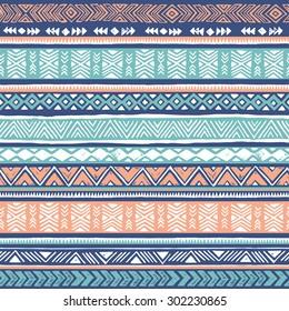 pastel colors tribal Navajo seamless pattern. aztec geometric print. ethnic hipster backdrop. hand drawn