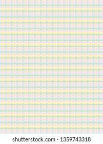 Pastel coloured abstract gingham check.  Easter and Springtime celebration background in pink, green, yellow, blue and white.