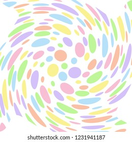 Pastel coloured abstract polka dot swirl that looks like a flower. Groovy, psychedelic vector background.
