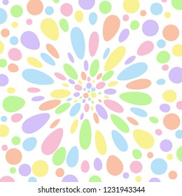 Pastel coloured abstract polka dot perspective. Groovy, psychedelic  vector background.