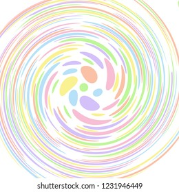 Pastel coloured abstract polka dot concentric swirl. Groovy, psychedelic vector background.