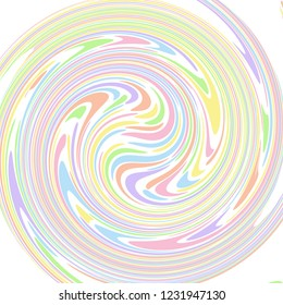 Pastel coloured abstract polka dot concentric swirl that looks like paint swirls. Groovy, psychedelic vector background.