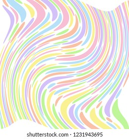 Pastel coloured abstract striped swirl that looks like a flower. Groovy, psychedelic vector background.
