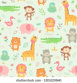 Pastel cute jungle animals with leaf and flower seamless pattern background
