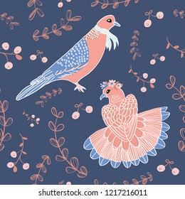 Pastel Dove Couple Seamless Pattern. Blue Background Vector