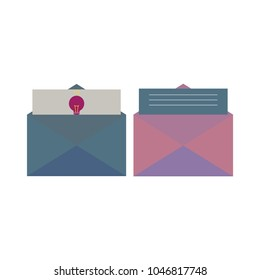 pastel envelope with light bulb icon