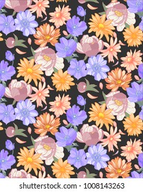 Pastel flower seamless pattern on black background