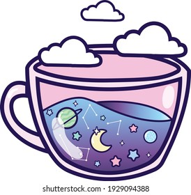 Pastel galaxy in a teacup with clouds