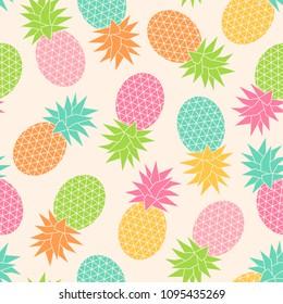 Pastel geometric pineapple seamless pattern background