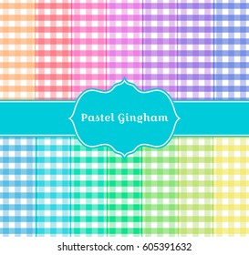 Pastel Gingham background. Gingham tablecloth seamless pattern illustration. Rainbow plaid pattern on white background. Suitable for use in swatch palette