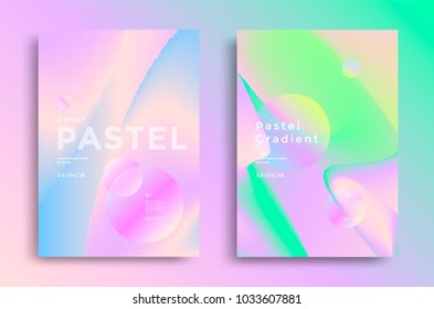 Pastel gradient covers design. Fashion style trends 80s and 90s for book, flyer.