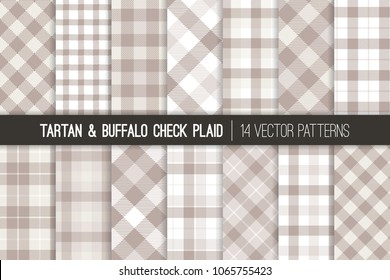 Pastel Gray Tartan and Buffalo Check Plaid Vector Patterns. Taupe, Gray and White Flannel Shirt Fabric Textures. Hipster Fashion. Checkered Print Subtle Backgrounds. Pattern Tile Swatches Included.