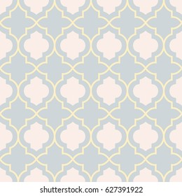 Pastel gray traditional geometric quatrefoil trellis pattern wallpaper. Vector textile rug or carpet background.