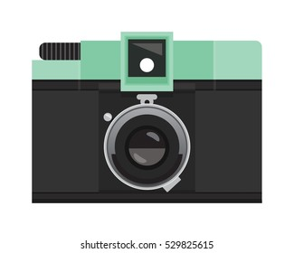 Pastel Green and Black Analog Film Camera