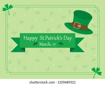 Pastel green frame background in St Patrick's day with ribbon text and hat. Illustration vector shamrock pattern wallpaper. Symbol of St Paddy's day Festival day to present happy and lucky on 17 March