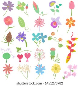 Pastel hand drawn flower leaf, cute illustration vector doodle set as graphic design floral elements