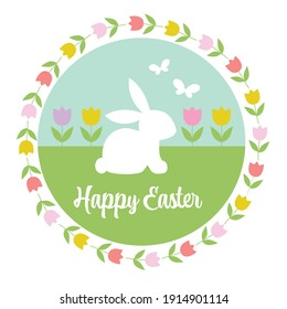 pastel Happy Easter graphic with bunny tulips and butterflies