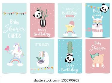 pastel invitation cards with unicorn,star,bear,llama and panda