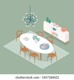 Pastel isometric dinning room in mint. Vector illustration in flat design, isolated.