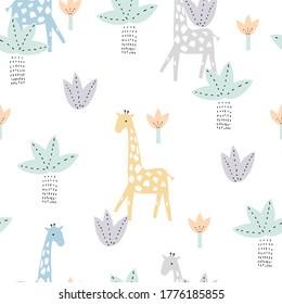 Pastel jungle seamless pattern. Childish cute print. Vector hand drawn illustration.
