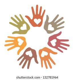 Pastel Loving Hand Print icon, vector illustration