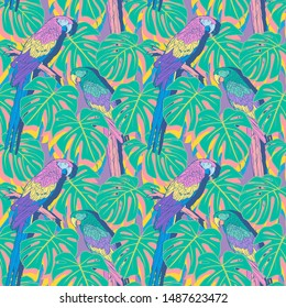 Pastel Macaw parrot pattern in tropical jungle scene. Vector seamless pattern.
