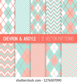 Mint and coral Grey Pastel Mint And Coral Argyle And Chevron Seamless Vector Patterns Living Coral 2019 Of Shutterstock Mint And Coral Images Stock Photos Vectors Shutterstock