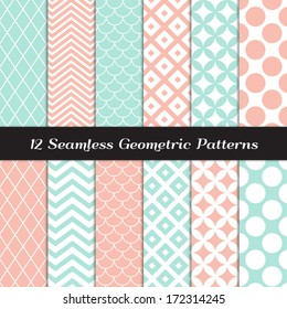 Pastel Mint and Coral Geometric Seamless Patterns. Retro Mod Backgrounds in Jumbo Polka Dot, Diamond Lattice, Scallops, Quatrefoil and Chevron. Pattern Swatches made with Global Colors.