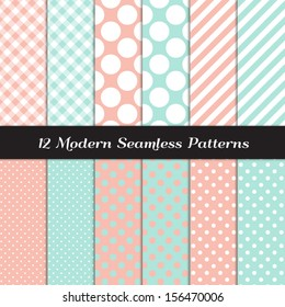 Pastel Mint and Coral Jumbo Polka Dots, Gingham and Stripes Seamless Patterns. Perfect for blog background or bridal or baby shower decor. Pattern Swatches made with Global Colors.