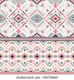 pastel multicolor tribal Navajo vector seamless pattern. aztec fancy abstract geometric art print. ethnic hipster backdrop. Wallpaper, cloth design, fabric, paper, cover, textile, weave, wrapping.