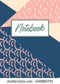 Pastel notbook cover design template with abstract shapes, and pattern