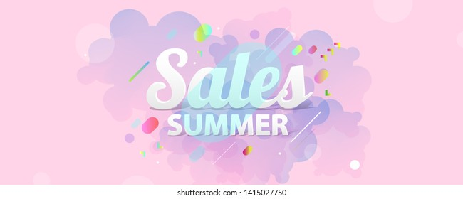Pastel pink background on summer time sale summer holiday vector Illustration lines graphic design
