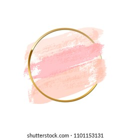 Pastel pink brush strokes with golden ring isolated on white background. Vector design element.