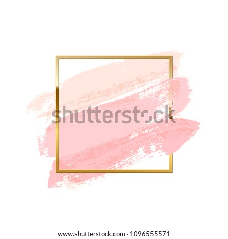 93e2093df28b Pastel pink brush strokes with square golden frame isolated on white  background. Vector design element