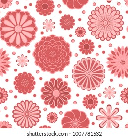 Pastel pink circle daisy gerbera flowers on white seamless pattern, vector