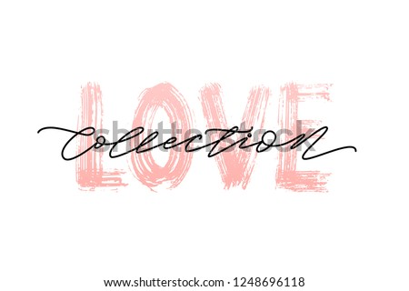 Pastel Pink Color Love Collection Word Hand Drawn Lettering Love Collections Banner For Shop On